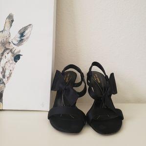 """Kate Spade Black Satin """"Lovely"""" Sandal Heels"""